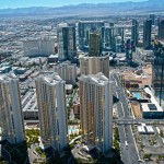 the las vegas skyline from the air